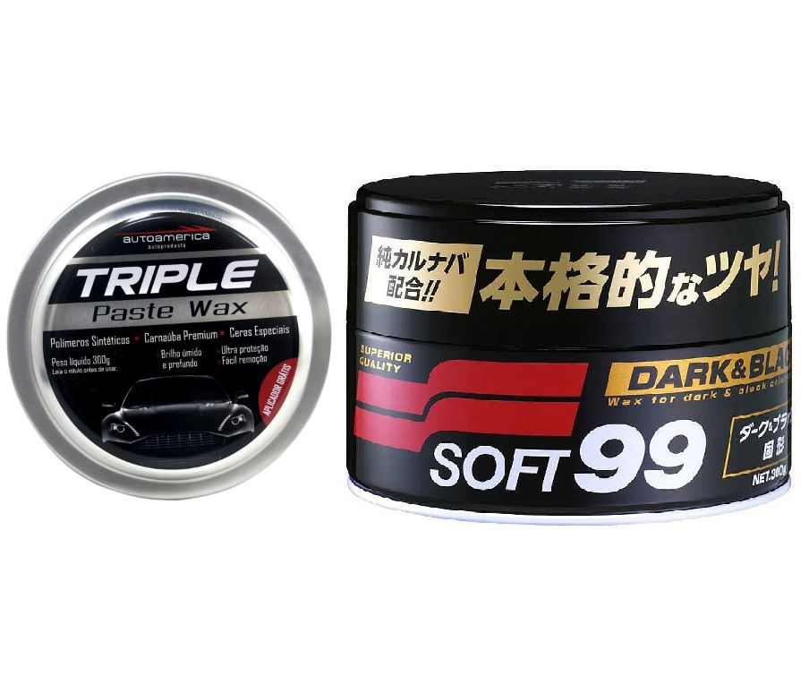 Kit com Triple 300g Autoamerica + Cera Dark Black 300g Soft99