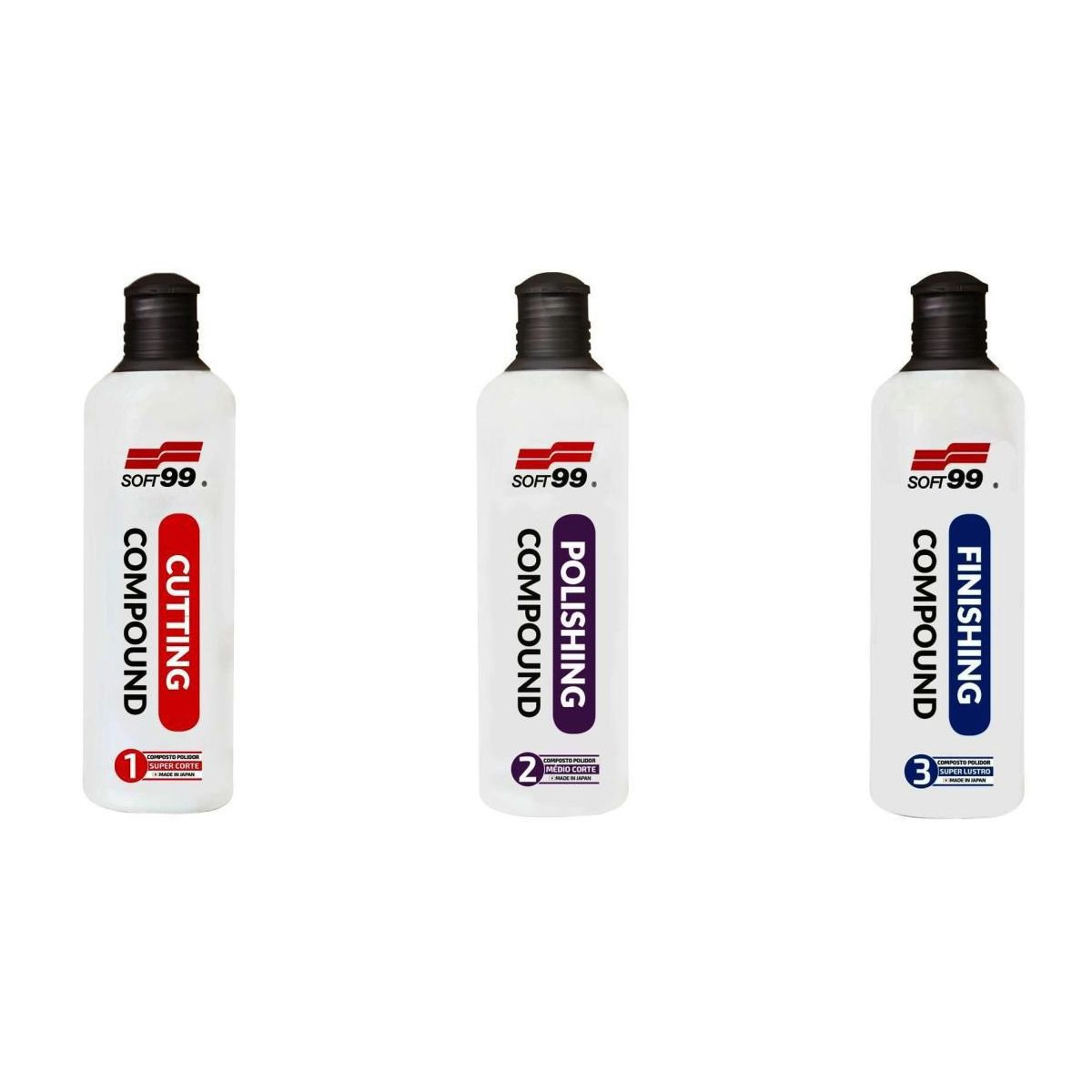 Kit Composto N1 Cutting Super Corte, N2 Polishing Medio Corte, N3 Finishing Lustro 300ml Soft99