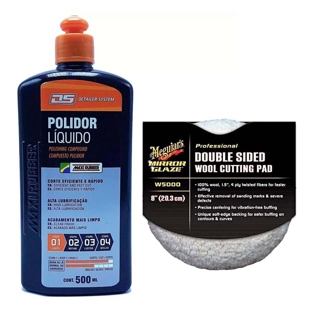 Kit Composto Polidor Líquido Max Rubber + Boina Dupla Face lã 8