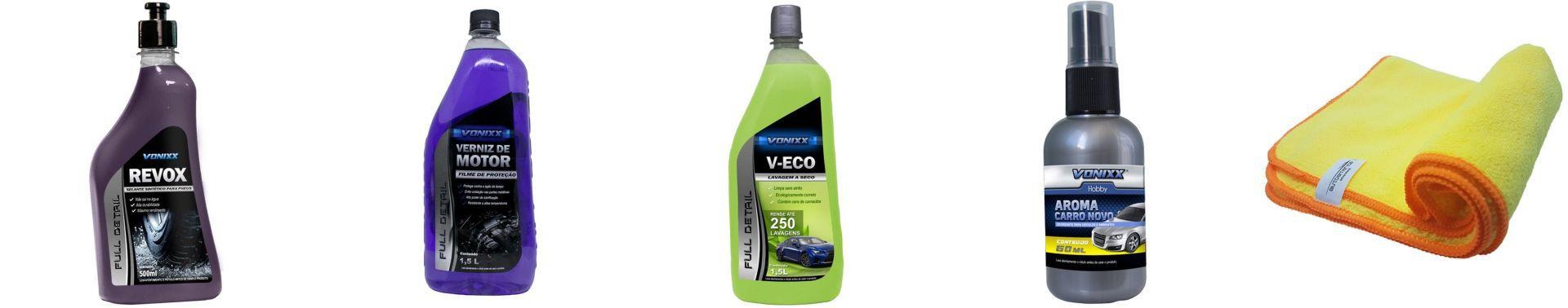 Kit Flanela +Aromatizante Spray Carro Novo+ V-Eco+Verniz de Motor+ Revox