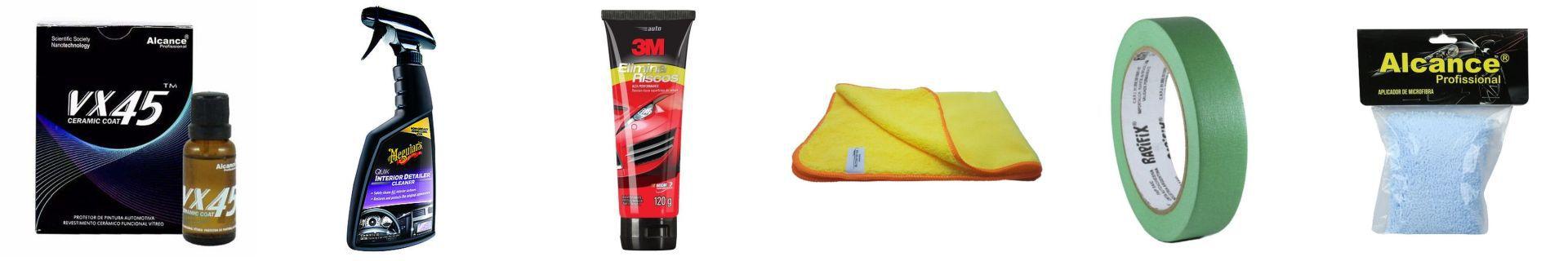 Kit Flanela+Elimina Riscos+VX45+Fita Crepe+Quik Interior+Aplicador