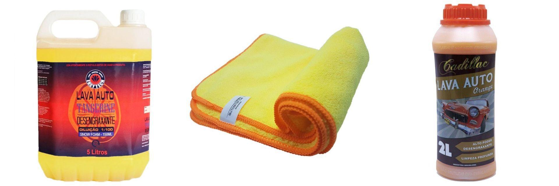 Kit Flanela+ Shampoo Tangerine+ Lava Auto Orange