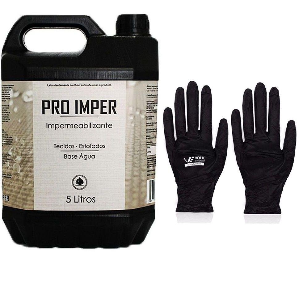 Kit Impermeabilizante Pro Imper 5 Litros+Luva Sensivolk Preta 9-G Par Volk