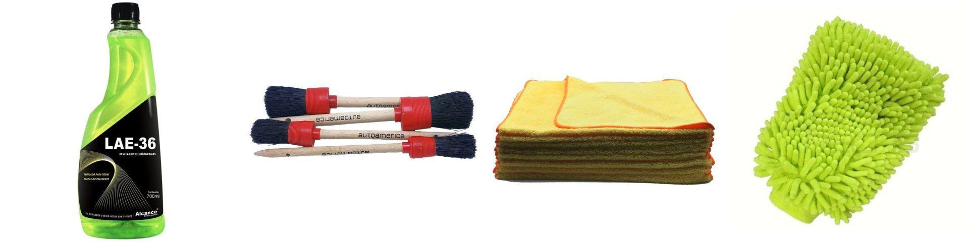 Kit Lae-36+Pinceis+Flanelas+Luva Microfibra
