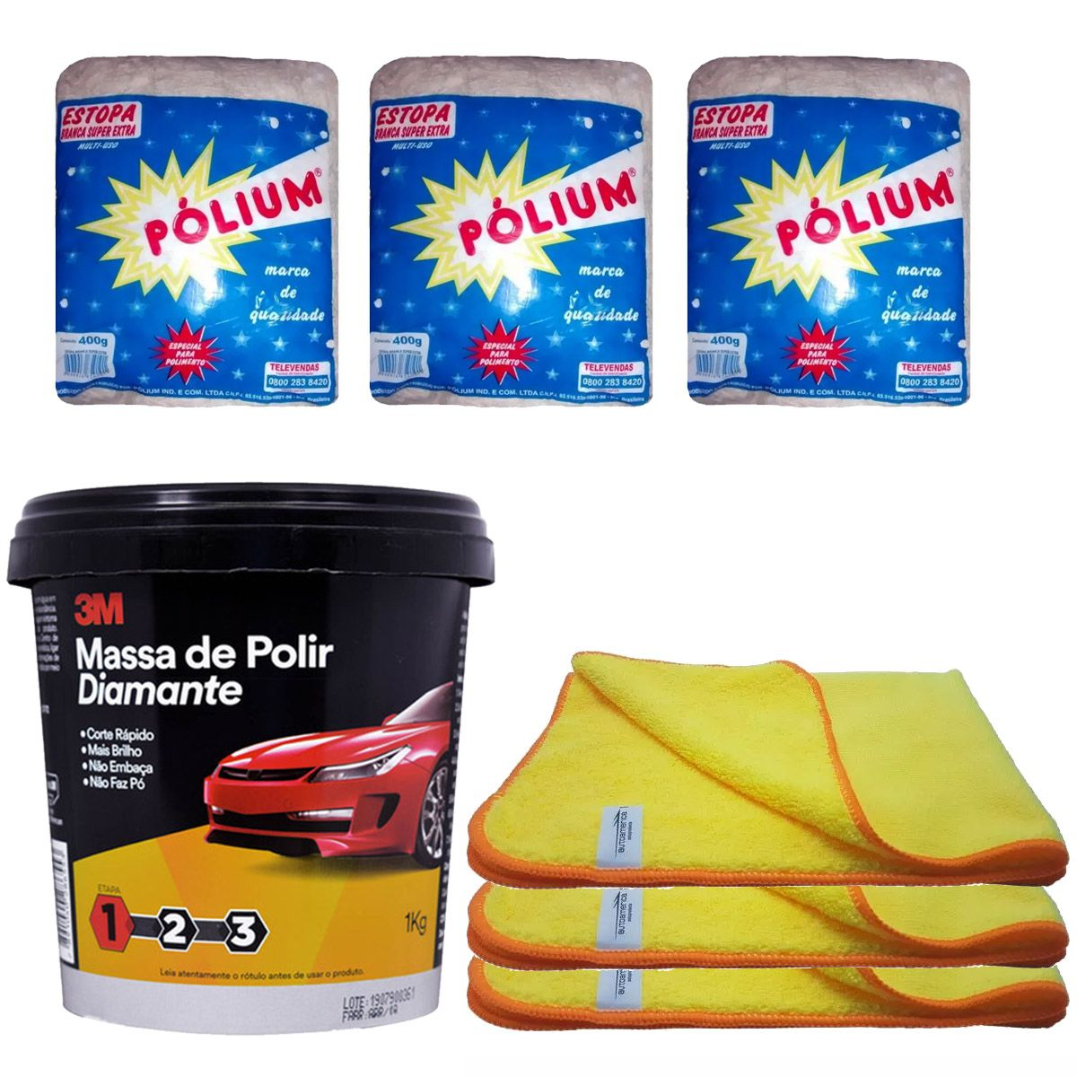 Kit Massa 1Kg Diamante 3M + Flanela 40x60 + Estopa Polium