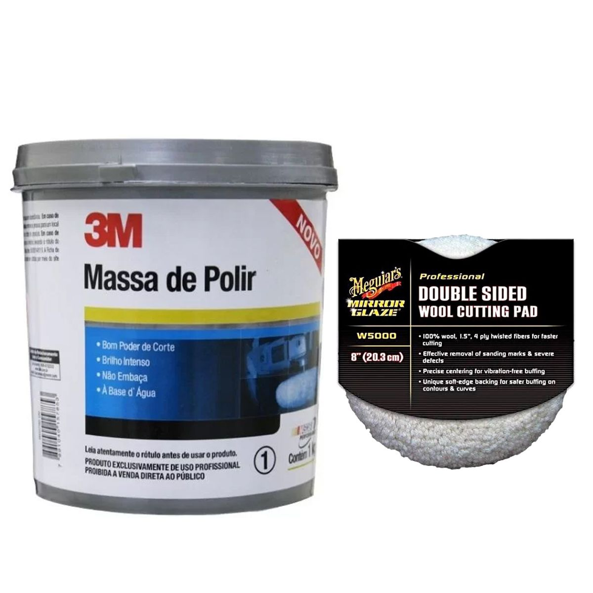Kit Massa de Polir 1Kg 3M + Boina Dupla Face lã 8 Pol Meguiars