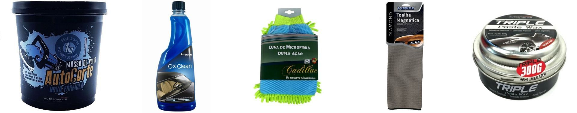 Kit Massa de Polir+OxiClean+Luva+Toalha Magnetica+Cera Triple