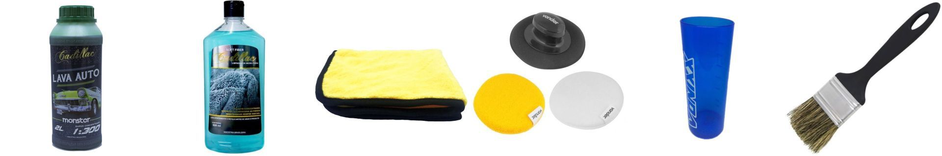 Kit Pincel+Copo+Lava Auto+Kit Polimento+Toalha+Limpador De Microfibra