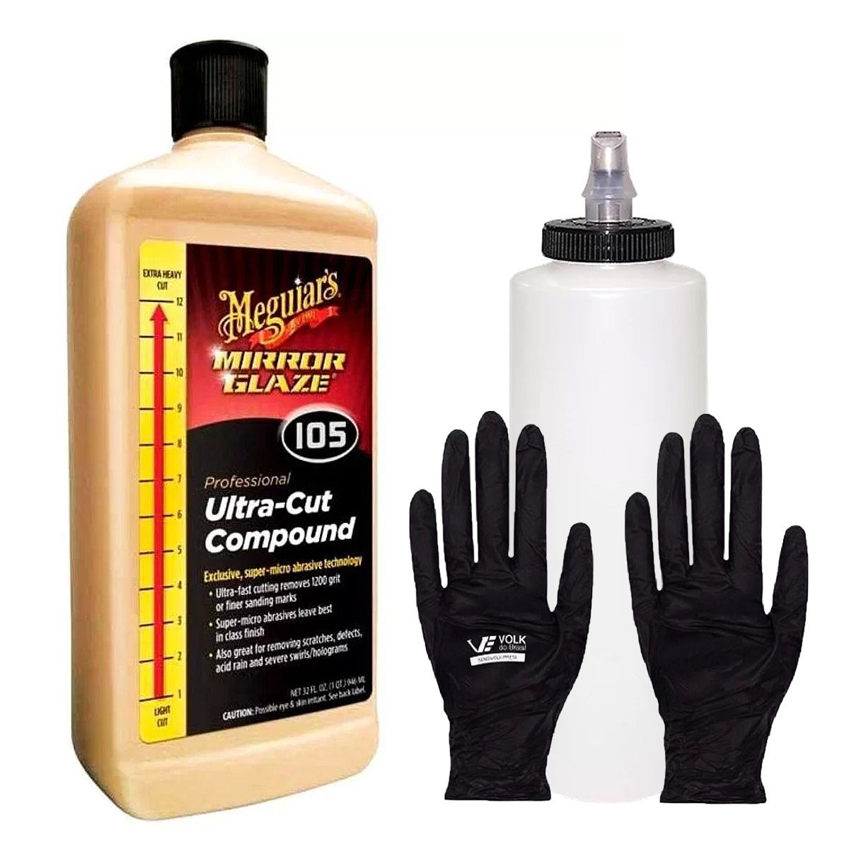 Kit Polidor Composto Ultra Cut Meguiars 946ml + Frasco Bico Dosador + Luva Black Slim Volk
