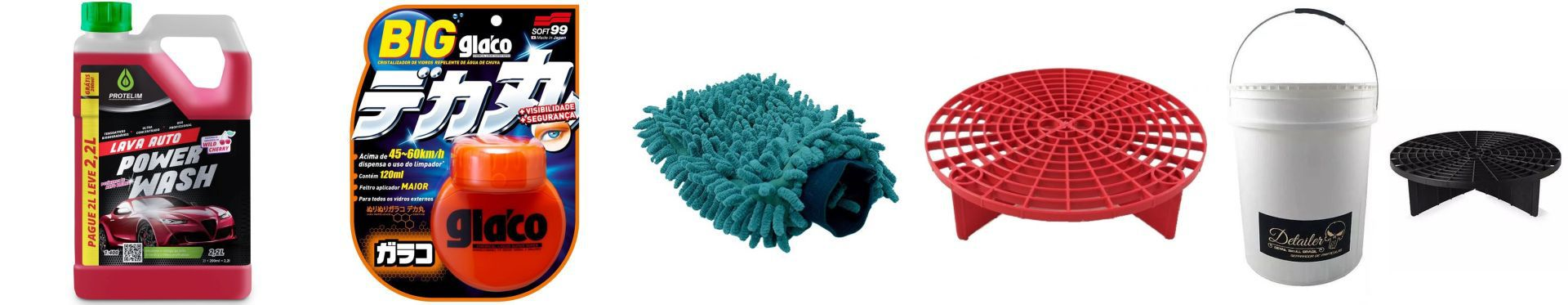 Kit Power Wash 1-400 - 2,2 Litros+Glaco Roll on Large 120ml+Luva De Microfibra+Separador de Particulas+ Balde Com Separador