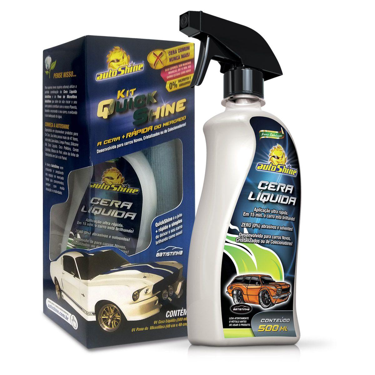 Kit Quick Shine Cera Líquida e Pano de Microfibra Autoshine