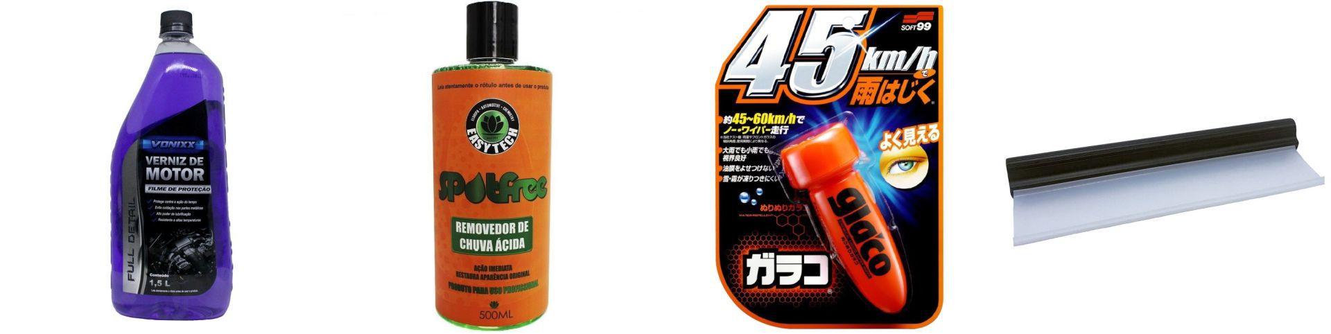 Kit Rodo+ Glaco Roll On 75ml+Removedor Spotfree+Verniz de Motor