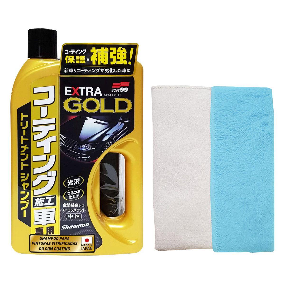 Kit Shampoo Extra Gold 750ml + Toalha Hibrida Sem Embalagem 30x40 Soft99
