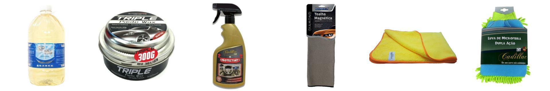 Kit Shampoo+Luva Microfibra+Protectant+Toalha Magnetica+Cera+Flanela