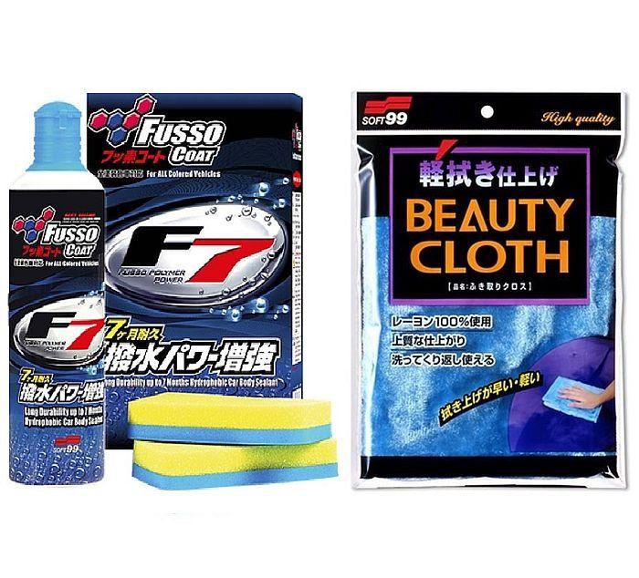 Kit Toalha Beauty Cloth Pele de Raposa 32x22cm + Selante de Longa Duração Fusso Coat F7 300ml Soft99