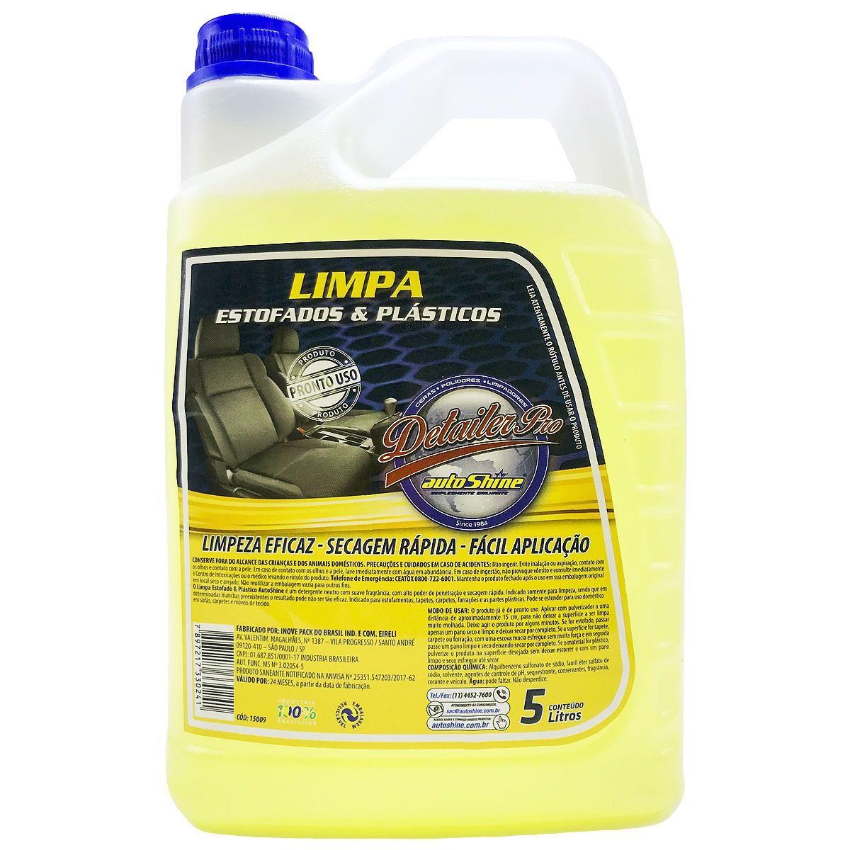 Limpa Estofados e Plásticos 5 Litros Autoshine