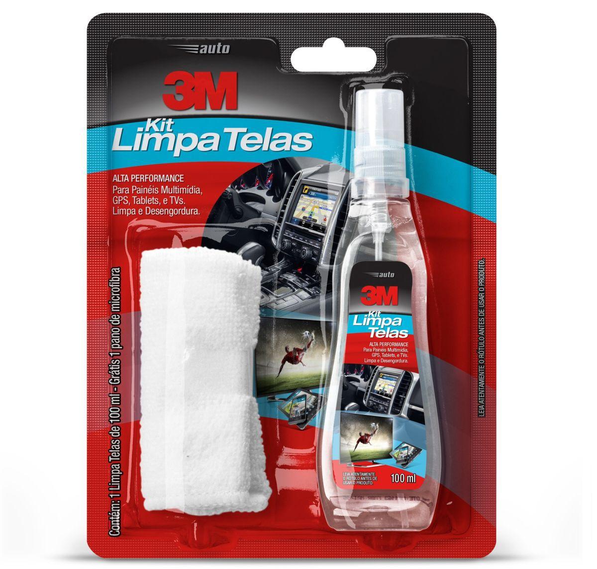 Limpador Alta Performance Kit limpa Telas 100ml com Flanela 3M