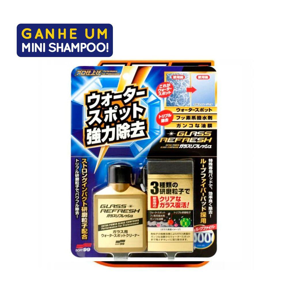 Removedor de Manchas de Para-Brisa Glass Stain 80ml Com Amostra Shampoo White Gloss 60ml Soft99