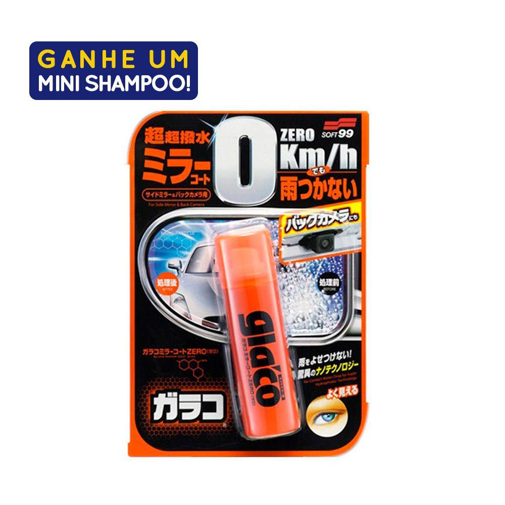 Repelente de Agua Glaco Mirror Coat Zero 40ml Com Amostra Shampoo Dark Gloss 60ml Soft99