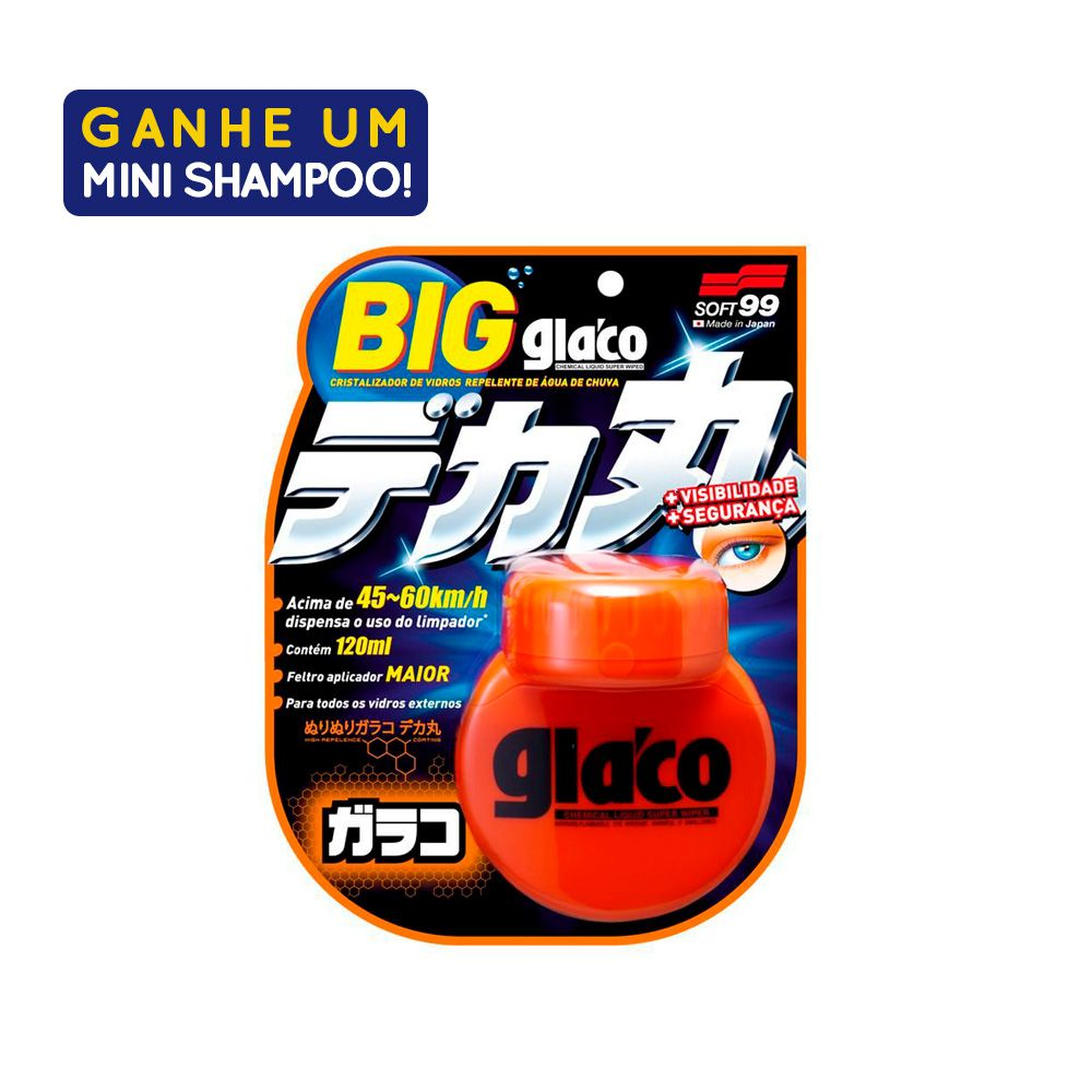 Repelente de Agua Glaco Roll on Large 120ml Com Amostra Shampoo White Gloss 60ml Soft99