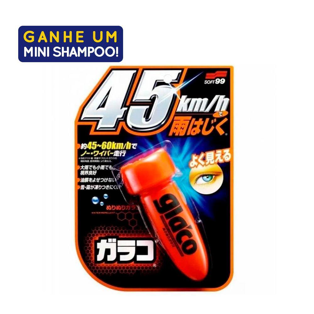 Repelente de Água para Parabrisas 75ml  Glaco Roll On Com Amostra Shampoo White Gloss 60ml Soft99