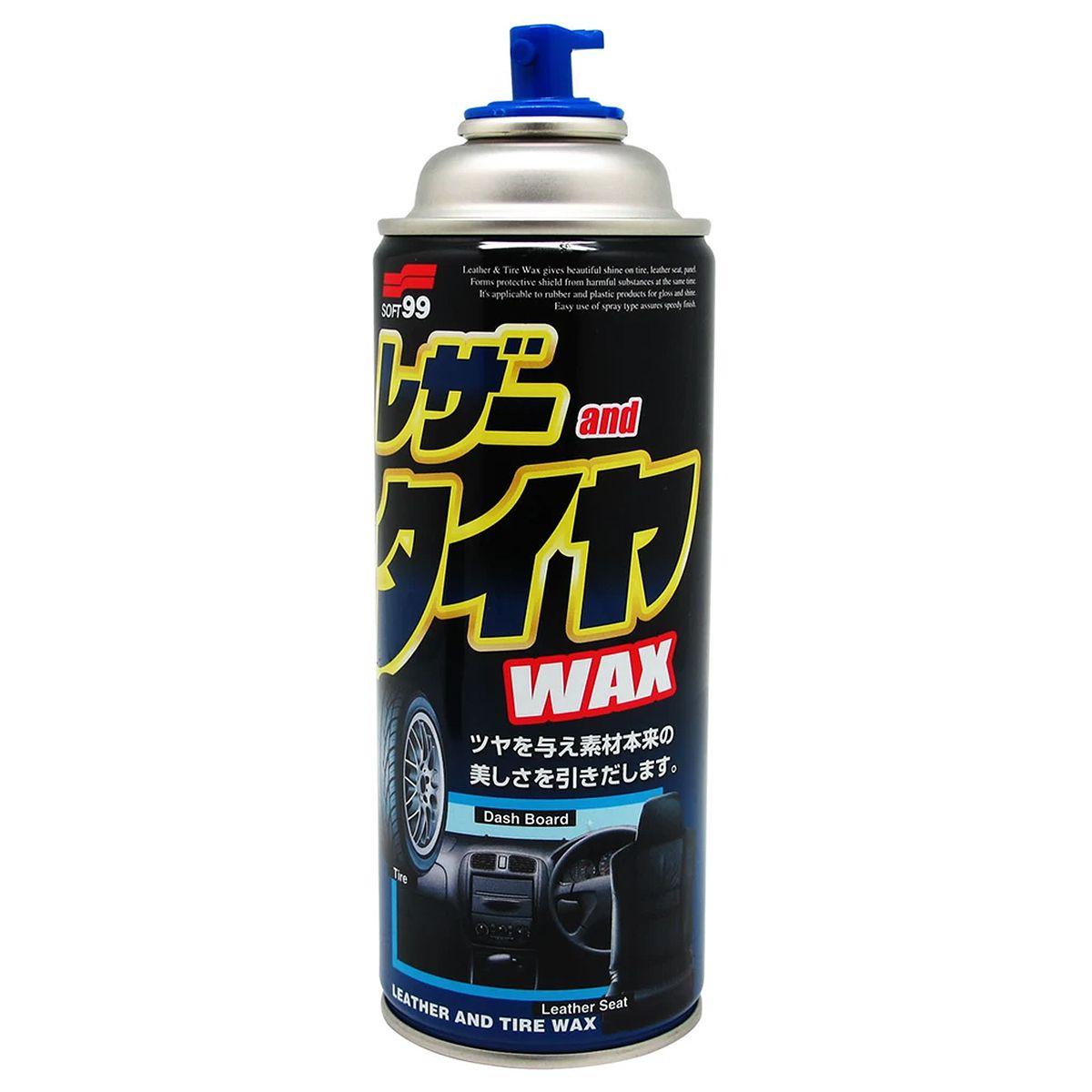 Revitalizador e Protetor de Plásticos e Borrachas Leather e Tire Wax Aerossol 420ml Soft99
