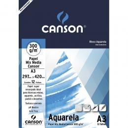 Bloco Papel Canson Aquarela A3 300g 12 Folhas