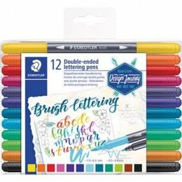 Caneta Brush Pen Lettering Ponta Dupla 12 Cores