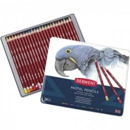 Estojo de Metal com 24 Lapis Pastel Pencils