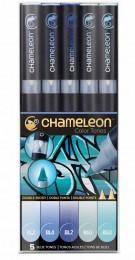 KIT CHAMELEON 5 CANETAS TONS DE AZUL CT0513