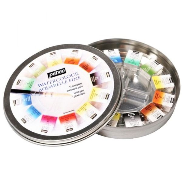 Aquarela em Pastilha Profissional Pebeo HP12 cores