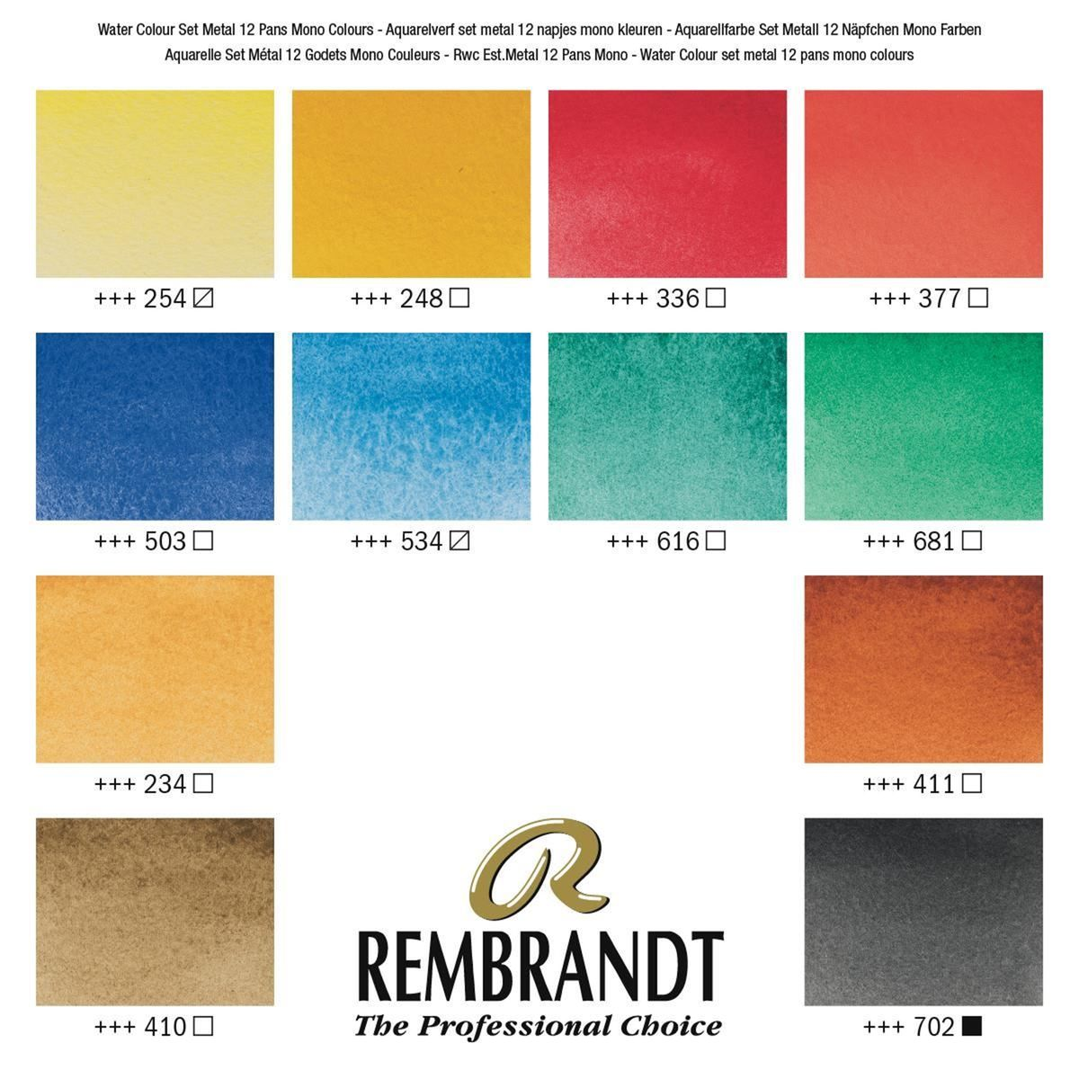 Aquarela Rembrandt Profissional Estojo Metalico 12