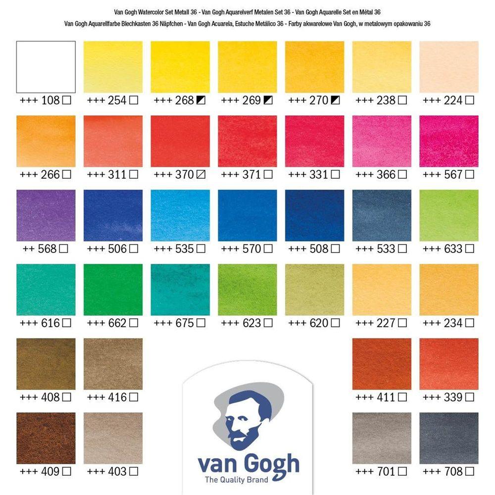 Aquarela Van Gogh estojo Metalico com 36 pastilhas