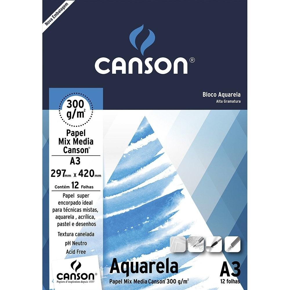 BLOCO AQUARELA A3.300g.12F.CANSON