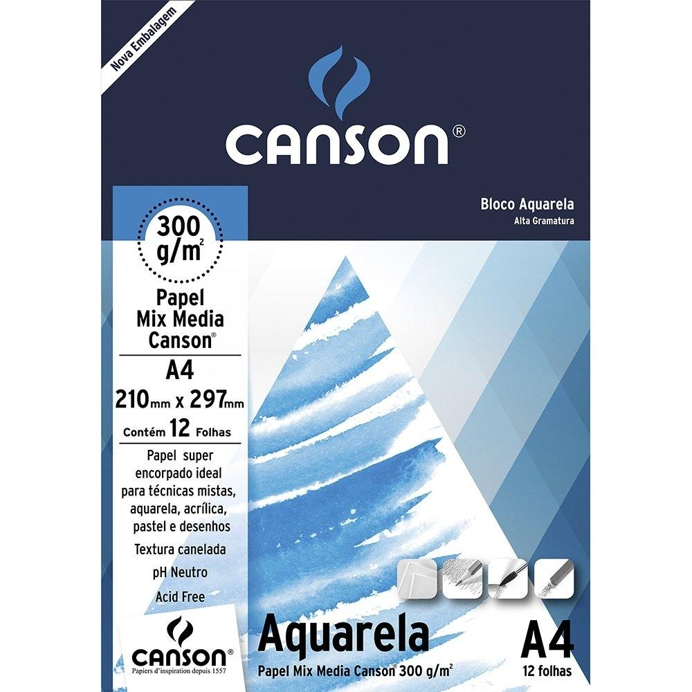 Bloco Papel Canson Aquarela A4 300g 12 Folhas