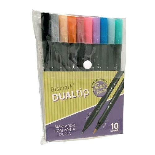 Caneta Brush Dual Tip Bismark 10 cores Pastel