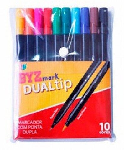 Caneta Brush Dual Tip Bismark 10cores Tradicionais