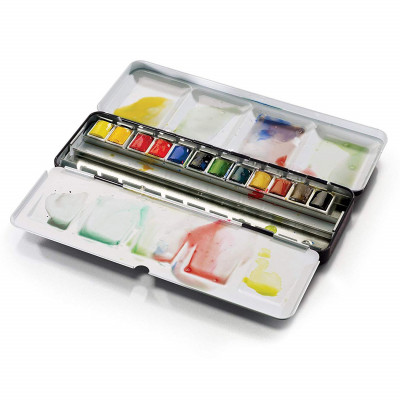Estojo Aquarela Pastilha c/12 W&N Prof. Black Box