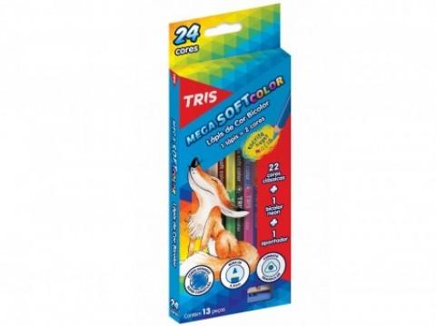 Lápis de Cor Bicolor Tris Mega Soft Color 12 lápis