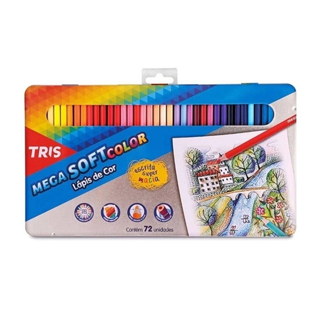 Lápis de Cor Tris Mega Soft Color 72 cores Estojo