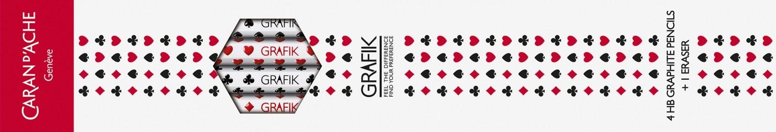 LAPIS GRAFITE HB GRAFIK CARD, 4 UNID C/ BORRACHA