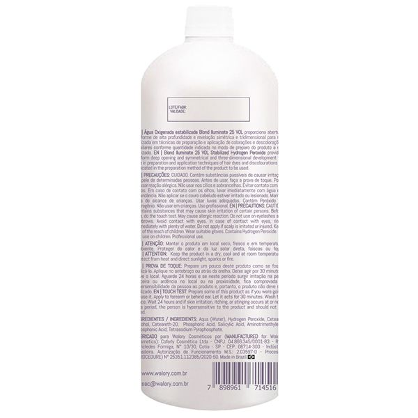 OX Água Oxigenada estabilizada Blond Iluminate 25 VOL - 900mL