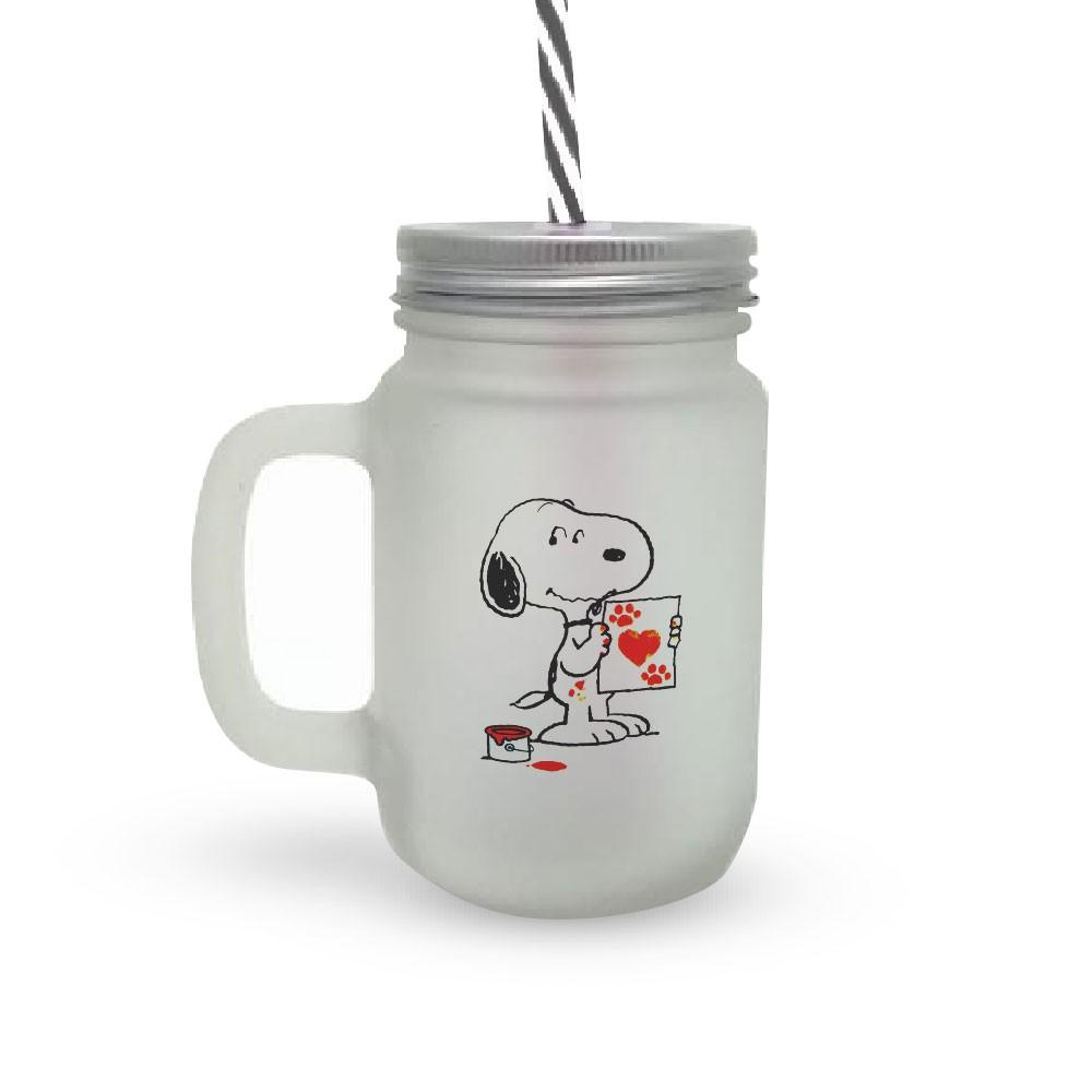 Caneca Canudo Snoopy Love