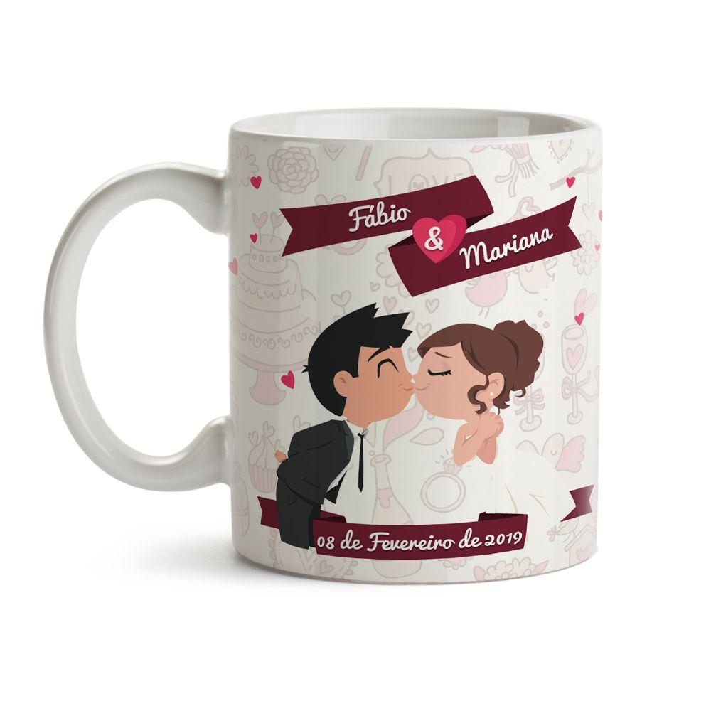 Caneca Casamento Desenho Casal beijando