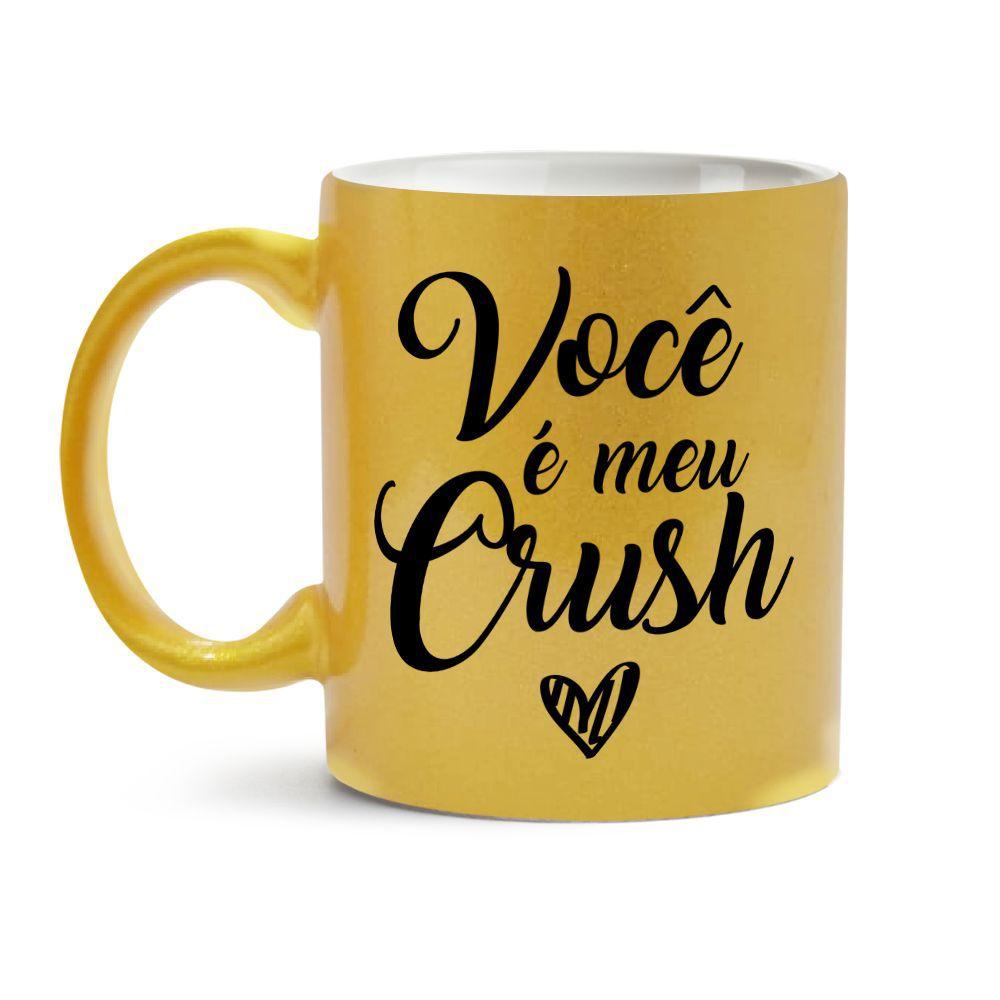 Caneca Dia dos Namorados Dourada Você É Meu Crush