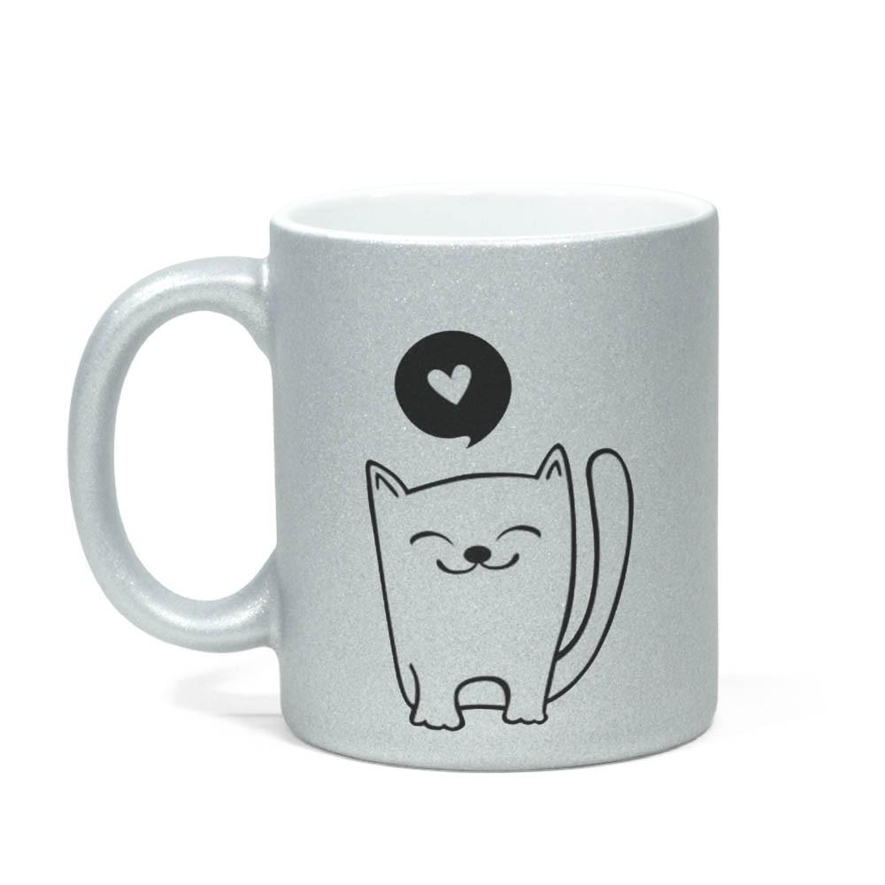 Caneca Gliter Love Cats
