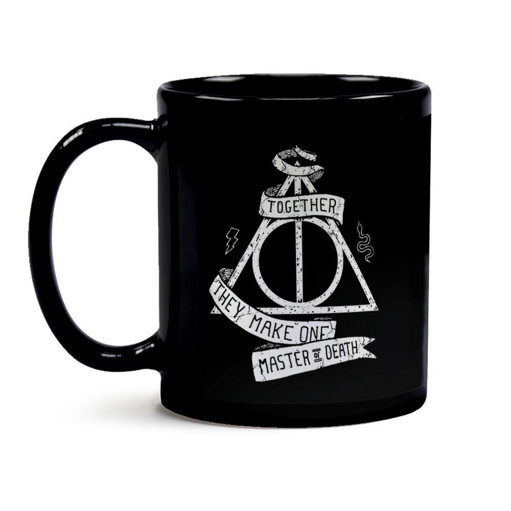 Caneca Harry Potter Relíquias da Morte 19 Toda Preta