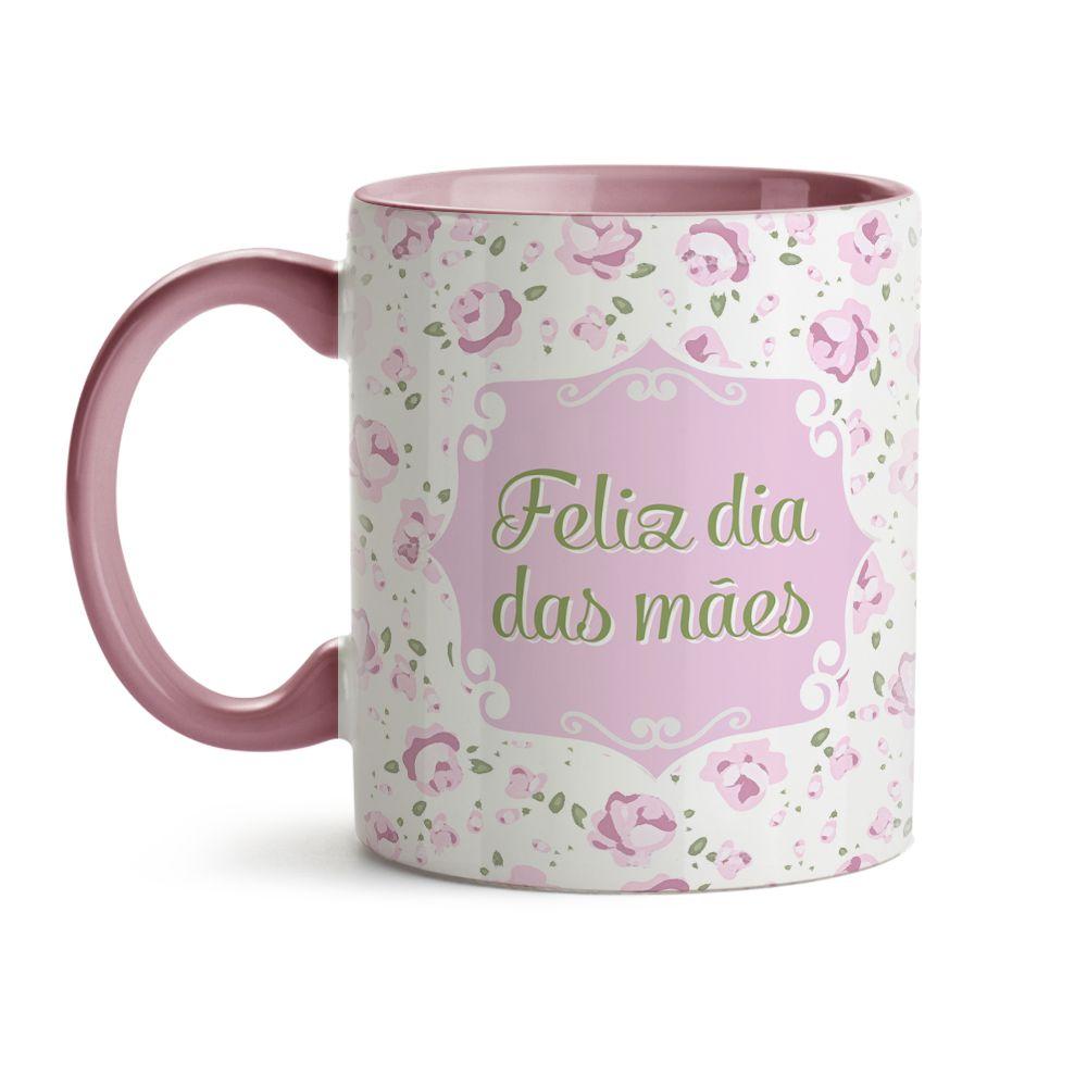 Caneca Mãe Floral Rosa