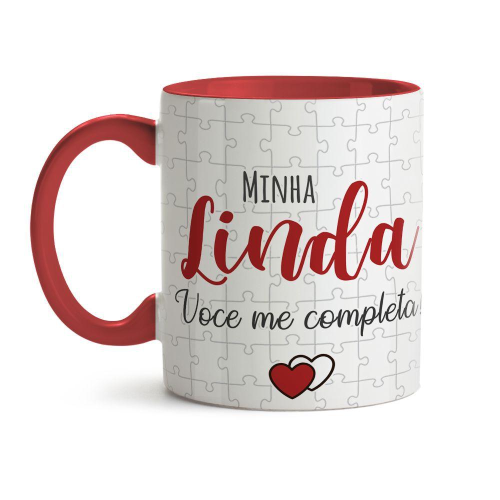 Caneca Dia dos Namorados Minha Linda Você Me Completa