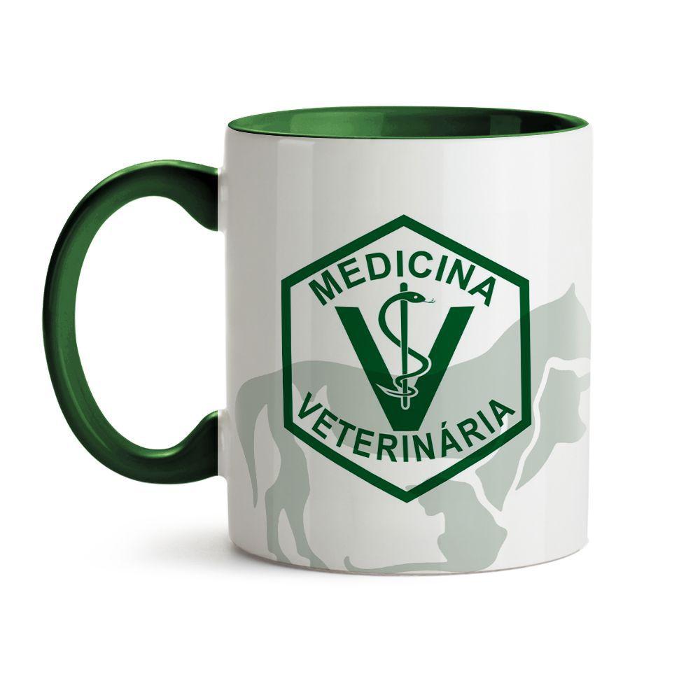 Caneca Medicina Veterinária Animais Verde